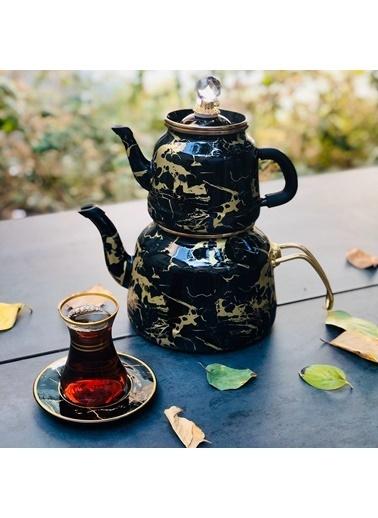 Arow Dufy Siyah Mermer Emaye Çaydanlık Renkli